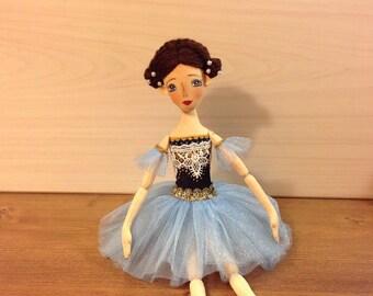Soft doll ballerina Cloth Art doll Decorative ballerina stuffed Rag doll textile Fabric doll cotton ballerina OOAK doll Collecting