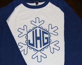 Snowflake Holiday Personalized Monogram 3/4 sleeve baseball raglan t-shirt Christmas Youth XS through Youth XL Sizes Available     AH