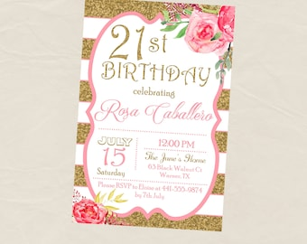 21st Glitter and Gold Adult Birthday Party Invitation - Any Age - 21 30 40 50 60 - Digital or Printed
