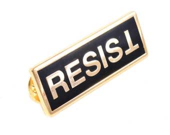 Resist Lapel Pin Badge - PREMIUM! - Gold and Black - BONUS! - Anti-Trump Anti-Far-Right - Falsum - Upside Down T - Progressive Left