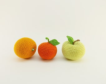 Crochet baby rattles fruit set of 3 pieces - apple, orange,  play style food, clean,  nursery decor , baby shower gift ,Baby room decor