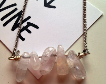 Clear Crystal Quartz Gemstone Necklace