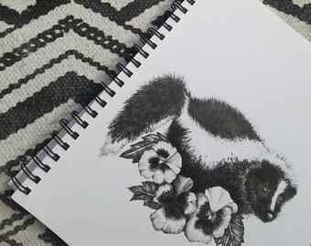 paisley // floral skunk illustration print
