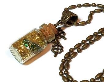Leprechauns Gold Bottle Necklace, Saint Patrick's Day Jewelry