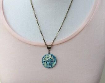 Face pendant, lady pendant, face jewellery, woman pendant, girl jewellery, girl pendant, autumn pendant, boho pendant, festival jewellery