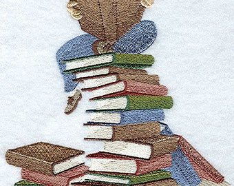 STACK OF BOOKS Readers Lament So Many Books So Little Time Machine Embroidered Quilt Square, Art Panel