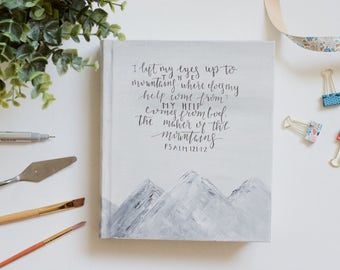 Hand Painted Bible // Snow Peaks Theme