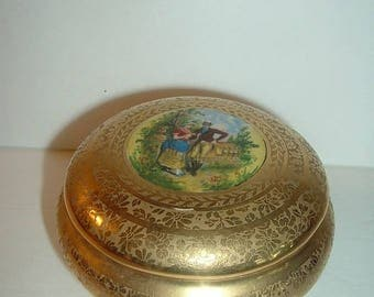 Vintage Gold Footed Courting Couple Portrait Dresser Box