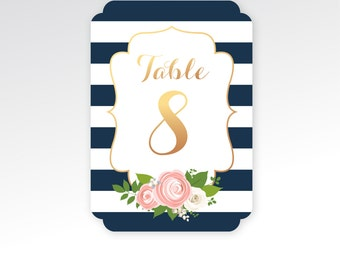 The KELLY . Table Number Printed Set . Navy Blue Stripes & Copper Calligraphy Pink Peony White Rose Ranunculus . Double Sided 5 x 7 in Card