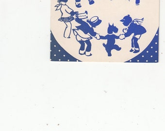 Vintage Small Is Beautiful, For Design, Indiugo/Cream Xmas/Chilren & Scottie Dog Circle Dancing Excellent Postcard