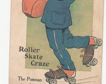 """The Postman On Roller States """"Roller Skate Craze"""" C 1910s Antique Postcard"""