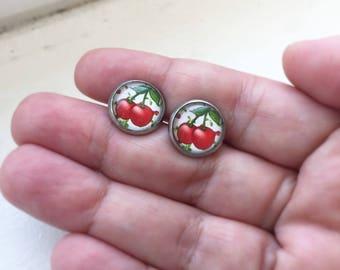 Cherry Earrings, Cherry Jewelry, Pin Up Jewelry, Pin Up Earrings,  Vintage Earrings, Fruit Jewelry, Summer Earring, Hypo Allergenic Earrings