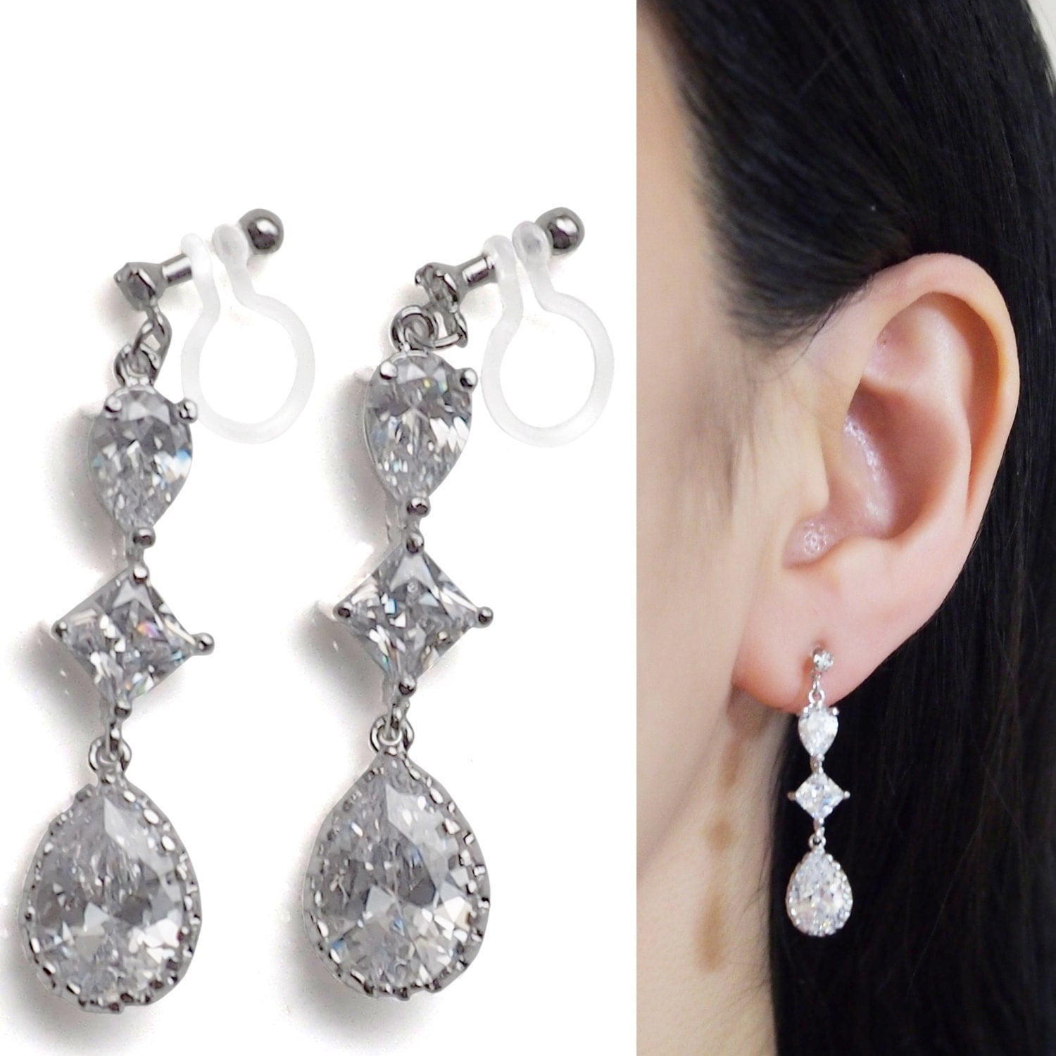 Bridal Crystal Invisible Clip On Earrings Dangle Wedding