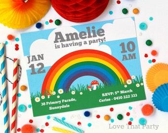 RAINBOW INVITATION, Printable, Personalized, Rainbow Birthday Invitation, Rainbow Party Invitation, Rainbow Printable, Printable Invitation