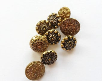 Tiny decorative stamped brass buttons mixed lot craft supplies