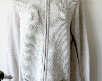Coldwater Creek Cardigan Sweater Light Gray Size Large 14