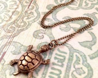 Turtle necklace, Antiqued Bronze Sea Turtle Necklace, Mothers Day,  Antiqued Bronze Necklace, Turtle charm Necklace, Turtle Jewelry