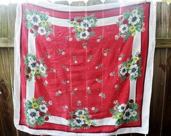 Sweet Red Vintage Tablecloth