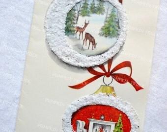 Vintage Christmas Card - Glitter Mica Diorama Ornaments Deer - Unused