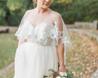 Wedding Capelet, Bridal Capelet, Wedding Dress Topper, Wedding Dress Cover Up, Bridal Cover Up, Bridal Topper, Lace Capelet-Style 502-Bonnie