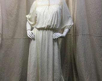 White Boho Dress Peasant 70s 80s Poet Sleeve Womens Small Medium Hippie Gypsy Wedding