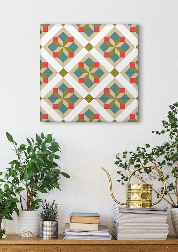Wall Canvas Art, Tile Design, Graphic Pattern, Canvas Print, Home Decoration, Wall Art, Geometric Art