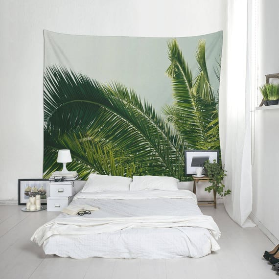 Summer Tapestry, Tropical Decoration, Palm Tree Photo, Wall Hanging, Dorm Decor, Polyester Fabric