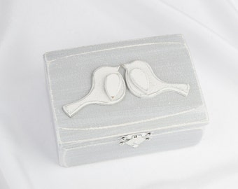 Wedding Ring Box, Love Birds Ring Bearer Box, Grey Wedding Ring Box