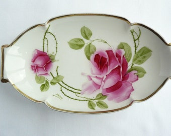 Imperial Austria Hand Painted Imperial PSL Empire China Dish - Red Roses