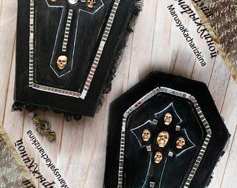Handmade notebook coffin, Wooden coffin, Journal diary, Sketchbook, Gothic, Skull notebook