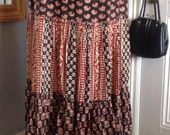 Indian tiered hippy festival boho block printed skirt 1970s size 14-16 (uk)