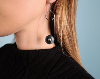 Oxidized Silver Statement Earring with Dome and Black Pearl