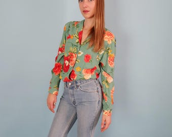 Vintage Green Long Sleeve Blouse with Red and Orange Floral Print