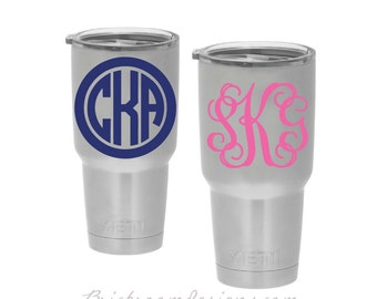 Yeti Cup Monogram Decal || Monogram Tumbler Decal, Vinyl Monogram Decal, Yeti Monogram Decal, Monogram Decal For Yeti Cup, Tumbler Monogram