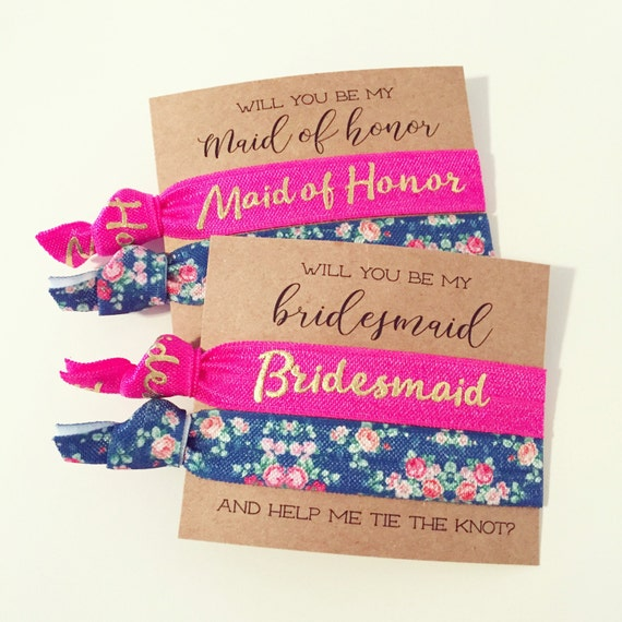 Will You Be My Bridesmaid Hair Tie Gift | Hot Pink Teal + Gold Floral Hair Tie Bridesmaid Gift, Bridesmaid Proposal Card, Maid of Honor Gift