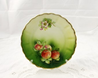 Green Bavarian Plate with Fruit, Vintage Plate, Display Plate, Dinner Plate, Serving Plate, Porcelain