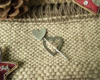 Silver Hearts Shawl Pin / Brooch - Hammered / Brushed Finish. Handmade in Sterling Silver.