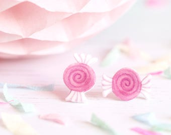 Hot Pink Sweet Earrings - Cute Candy Studs - Swirl Sweeties