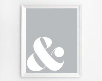 Scandinavian Art, Ampersand sign, Scandinavian style, Ampersand Wall Decor, Scandinavian poster, Ampersand Print, Grey Art