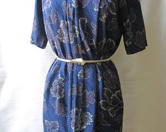 Vintage Liz Claiborne shirt dress; 80s silk dress; short sleeve dress; blue silk shirt dress; day dress; floral print vintage 80s dress