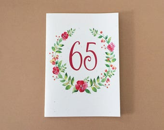 Age Birthday Card: Pink Flower Birthday Card - 21 - 25 - 30 - 40 - 50 - 60 - 65 - 70 - 75 - 80 - 85 - 90 - 95 - 100