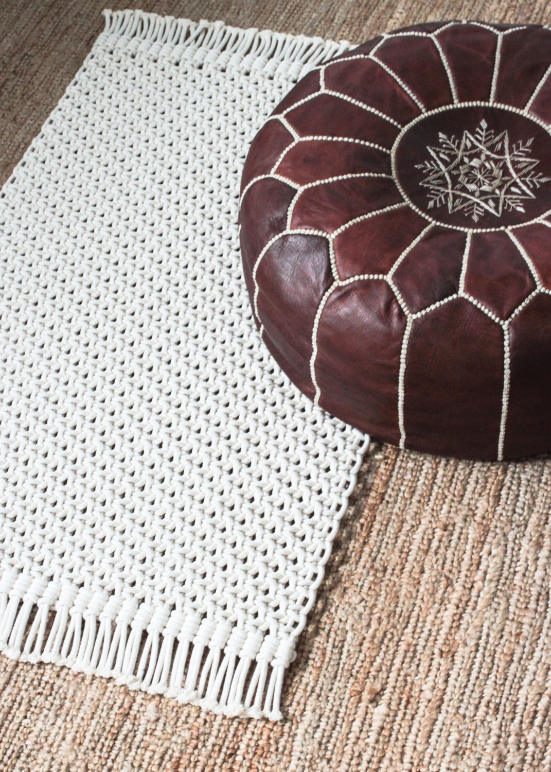 macrame rugs macrame rug 100 cotton cord in ecru 160