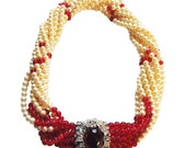 Rare Ciner Pearl and Red Bead Torsade Runway Coture Necklace Massive Clasp Vintage 1980 Bride Necklace  RESERVED