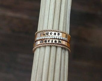 Rose Gold Stacking Ring Set Pink Gold Stackable Rings Mothers Name Ring Personalized Ring Pink Gold New Mom Gift New Baby Gift Anniversary