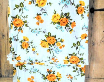 "Original Vintage 50s 60s Barkcloth Yellow & White Rose Pattern  Pair Of Curtains Drapes Window Panels 32"" x 51"""