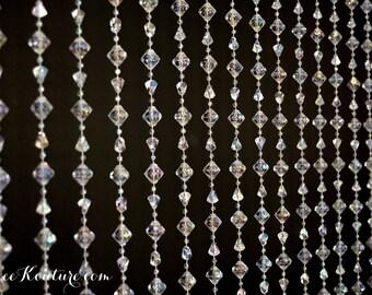 CRYSTAL Beaded Curtain Drape. CRYSTAL BACKDROP. Iridescent Faux Rhinestone Curtain. Crystal Curtain. Rhinestone Backdrop. Wedding Backdrop.