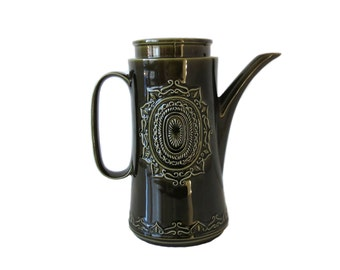 """Coffee Pot """"BARBEQUE"""" by BARRATTS - Deep Green Retro Coffee Pot - Vintage 1970s Coffee Pot"""