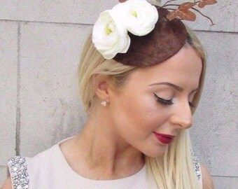 Chocolate Brown Cream Rose Flower Velvet Fascinator Vintage Hair Hat 1940s 2517