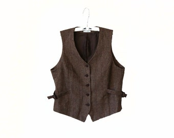 Vintage Brown Beige Plaid Vest Womens Checkered Waistcoat Plus Size