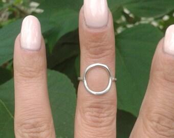 open circle ring, thin sterling silver ring, simple dainty ring, sterling silver minimalist ring, purity ring, karma ring, midi silver ring